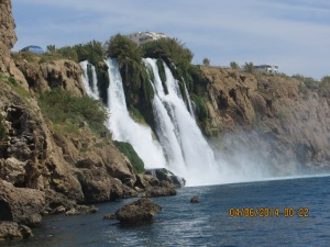 Waterfalls into the Mediterranean Sea