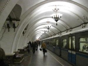Chandeliers lighting the underground metro stations
