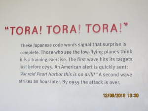 Tora! Tora! Tora!  These Japanese words signal that surprise is complete.