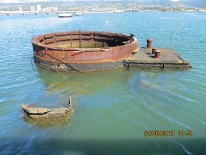 The submerged remains of the battleship, the final resting place for many of the 1,177 crewmen killed on Dec. 7, 1941.