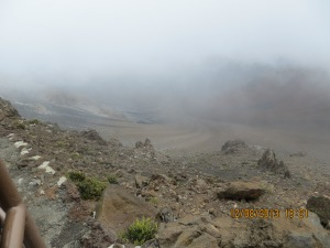 A misty morning viewing Haleakala Crater.
