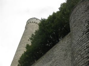 Protective walls and turrets surrounding the 'old' town.