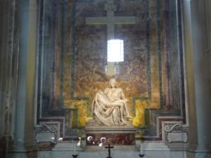 Michelangelo's Pieta (1499) - work renowned for accuracy in body proportions and physical stature.  It is housed in St. Peter's Basilica.