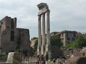 Tall restored columns dot the landscape of the Roman Forum.