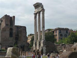 Tall restored columns dot the landscape of the Roman Forum.