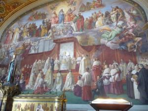 The end wall of the Sistine Chapel