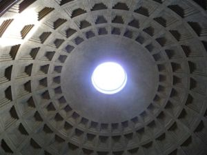 The concrete dome of the Pantheon - open to the sky.