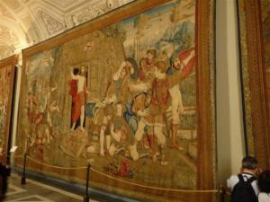 Tapestries hang on the Vatican Museum walls.